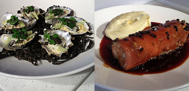 Oysters Tagliatelle and Pig's Trotter