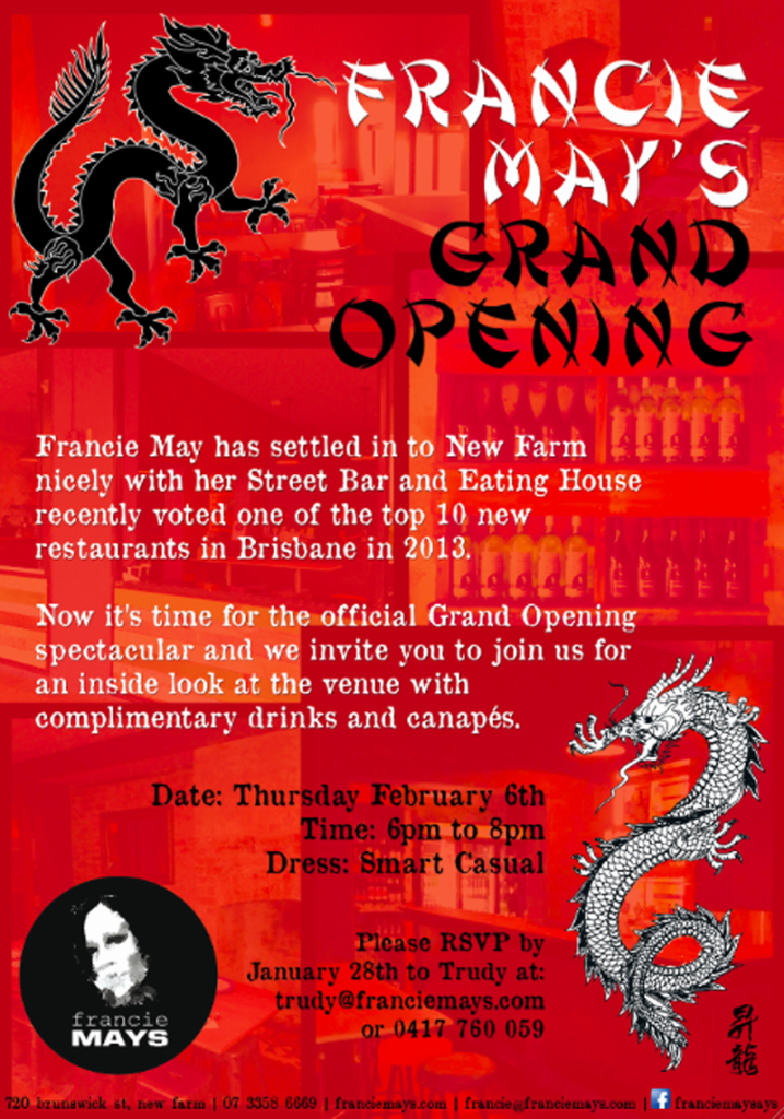 Francie Mays Grand Opening Spectacular Invitation