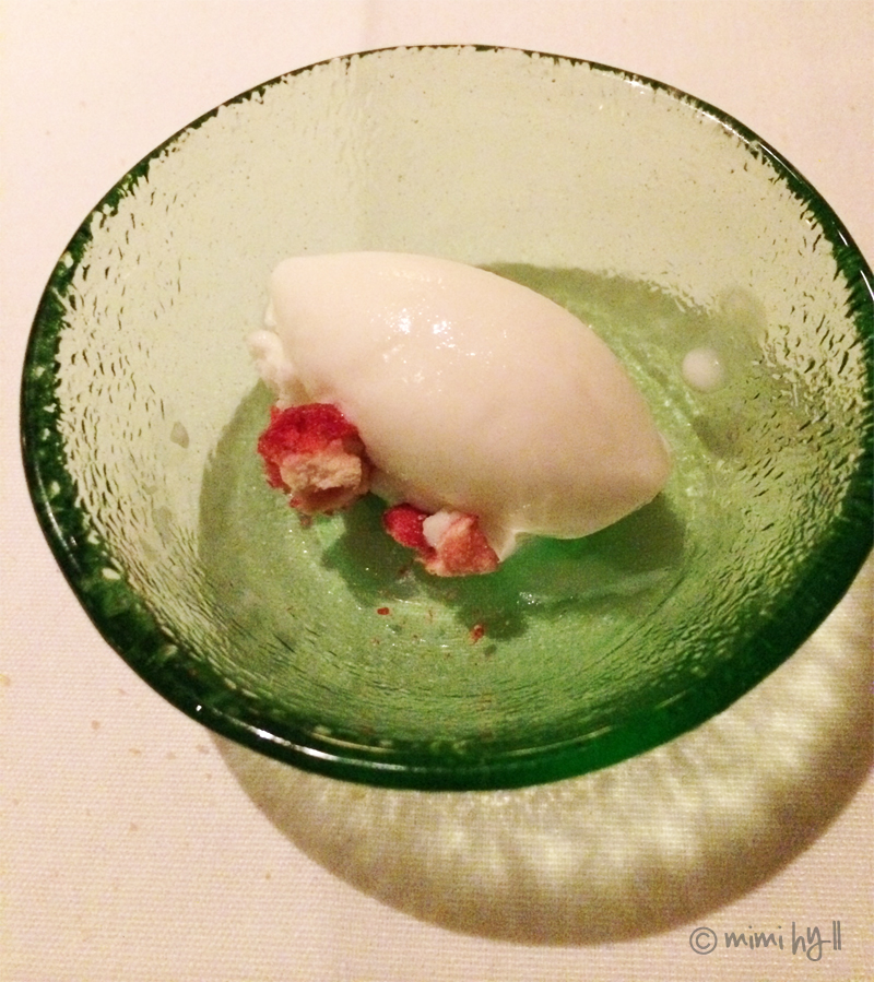 Ezard Palate Cleanser of Yoghurt Sorbet and Freeze Dried Raspberries