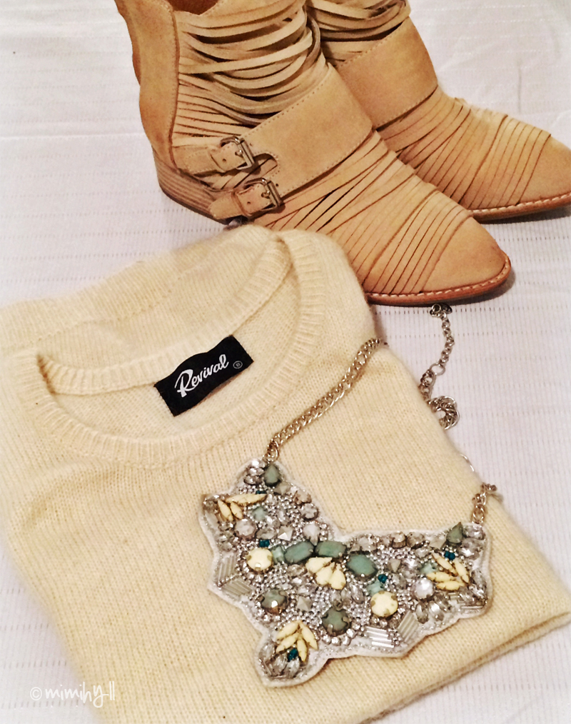 Melbourne Shopping Purchases, Jeffery Campbell boots, Colette necklace, Dangerfield Vest