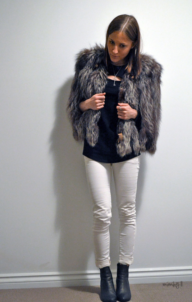 Mimi Hyll Outfit of Silver Fox Fur Jacket