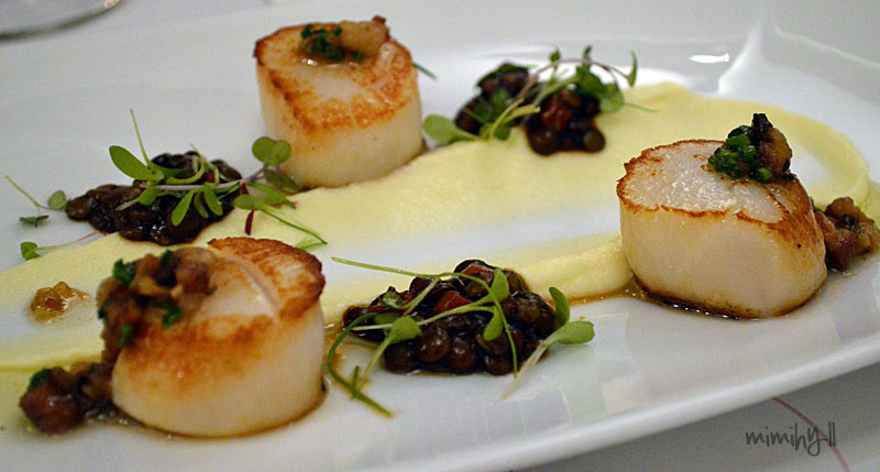 The Lab Bar and Restaurant Scallops with Puy Lentils