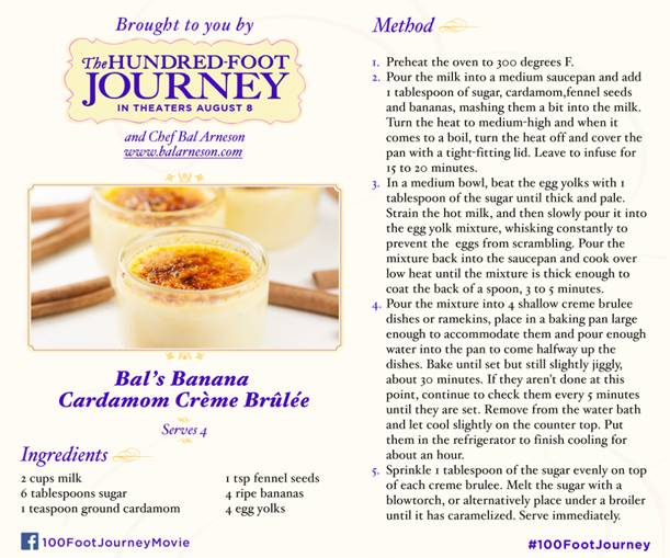 Bal's Banana Creme Brulee Recipe from The 100 Foot Journey
