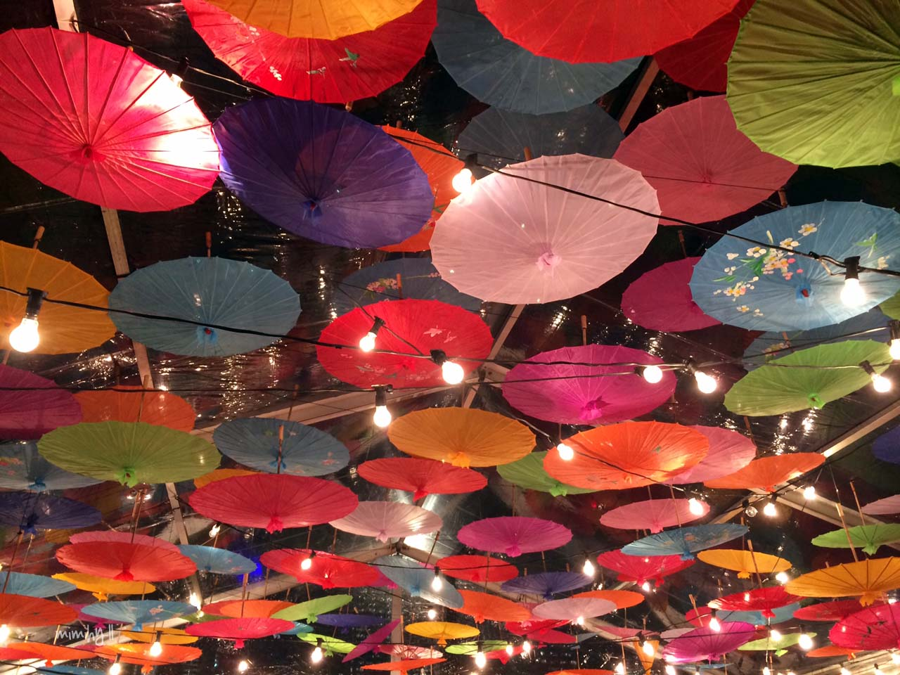 Umbrella decoration at Night Noodle Markets