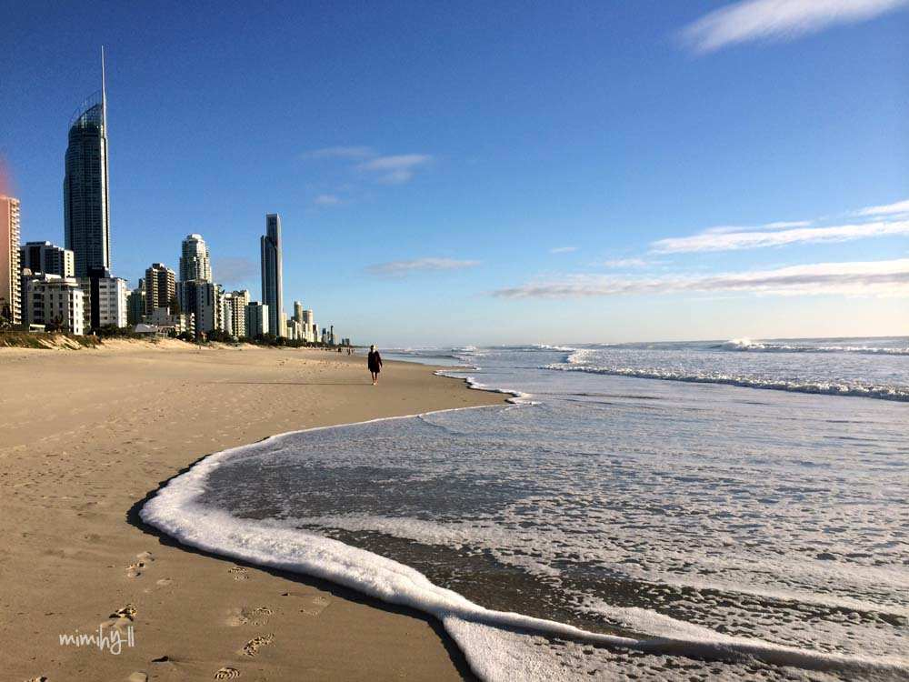 Pristine beach early morning in Surfers Paradise
