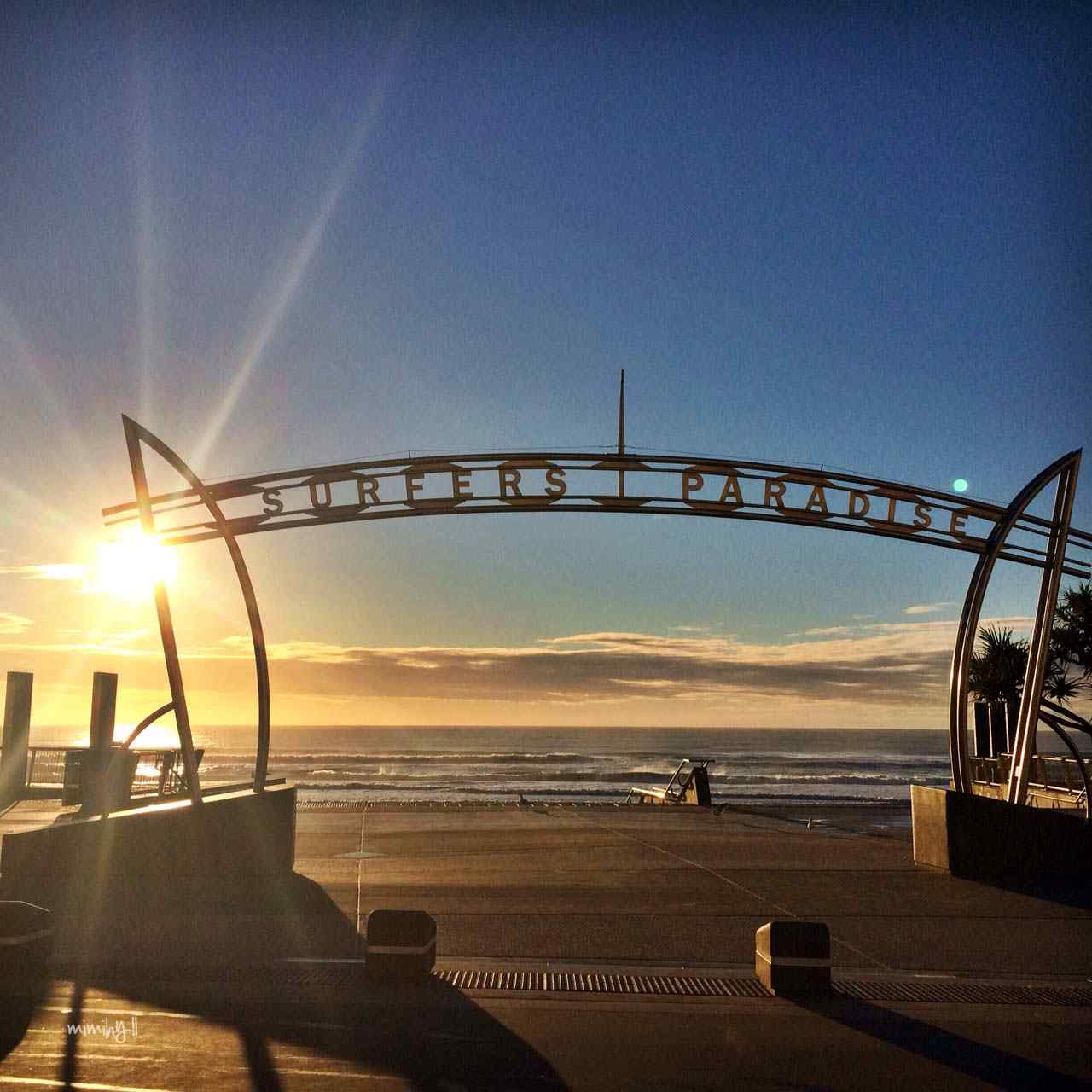 Sunrise at Surfers Paradise beach